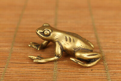 chinese old copper hand casting frog statue collectable