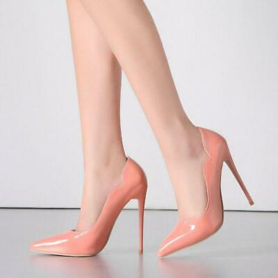 Womens Stiletto High Heel Pointed Toe Pumps Patent Leather Shoes Plus Size 4-13