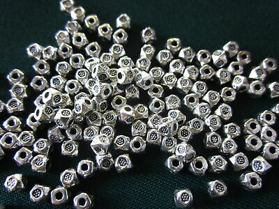 50 Antique Silver Coloured Cube Spacer Beads 4mmx4mm #sp3182 Jewellery Making