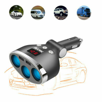 Auto 3-Socket Cigarette Lighter Socket Hub Car Charger for GPS iphone Tablets