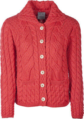 Ladies 6 Button Cable Merino Wool Cardigan by Aran Mills - Red