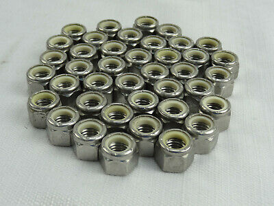 """3//8/""""-24 UNF LOT OF 15 9//16/"""" HEX NYLOC STAINLESS STEEL LOCKING NUTS #91620"""