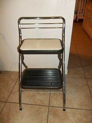 Vintage Folding Two Step Stool Ladder Plant Stand Metal