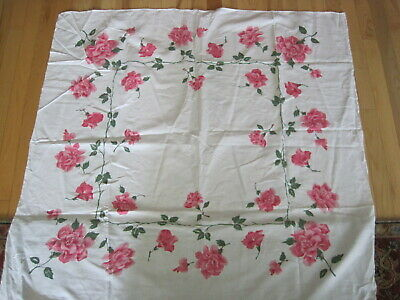 Vtg California Hand Prints Tablecloth Roses