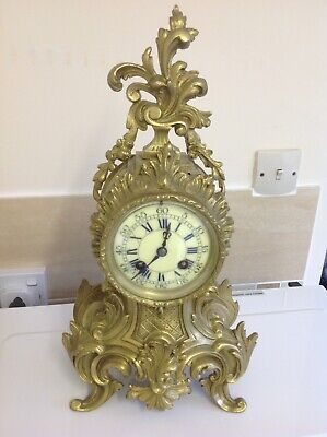 Antique French Gilt Brass Rococo Clock