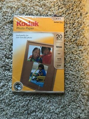 NEW Kodak Premium Photo Paper Gloss Instant Dry 4x6 20 sheet 44lbs. Inkjet NIP