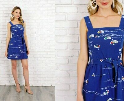 Vintage 70s Blue Malia Novelty Print Dress Rowboat boat Nautical Mini XS Small