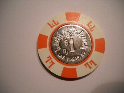$1 ONE DOLLAR POKER GAMING CHIP LADY LUCK HOTEL CASINO LAS VEGAS NV 6th ISSUE