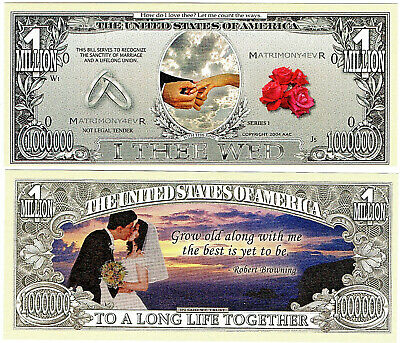 Wedding Novelty Bank Note Marriage Gold Rings Guest Favours Hen Stag Party Lucky