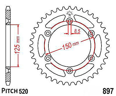 Hendler Rear Sprocket 42 Teeth (897-42) KTM LC4 400 1998