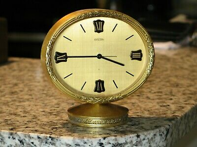 Beautiful Vintage Swiss Angelus 8 day, Oval ,Gold,  Desk / Table Clock.