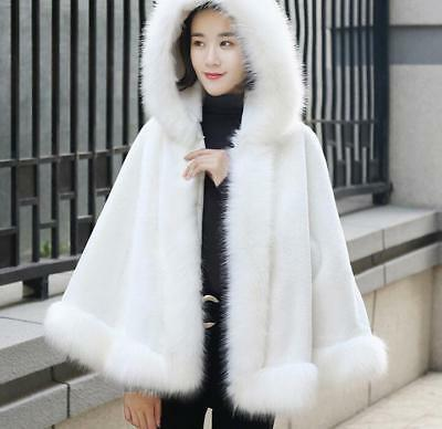 Womens Thick Fur Warm Outwear Jackets Hooded Fur Collar Solid Cloak Winter Zsell