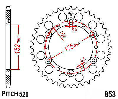 Hendler Rear Sprocket 48 Teeth (853-48) Kreidler Mustang 170 2004-2006