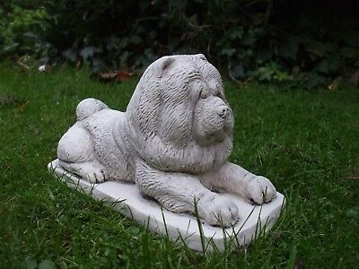 Laying  Stone Chow Chow Dog Dogs  Sculpture Statue