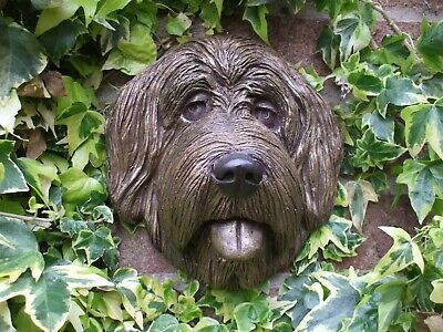 Large  Labradoodle Bronzed Stone Head  Wall Sculpture