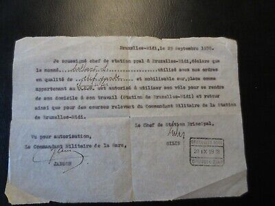 Ancienne document  militaire  le 29 septembre 1938