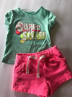Carters Infant Girls Shorts & Shirt Set Outfit Size 3 Months Super Sister Baby