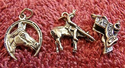 Vintage Sterling Silver Western Style Charms for Charm Bracelet---3 Charms Lot