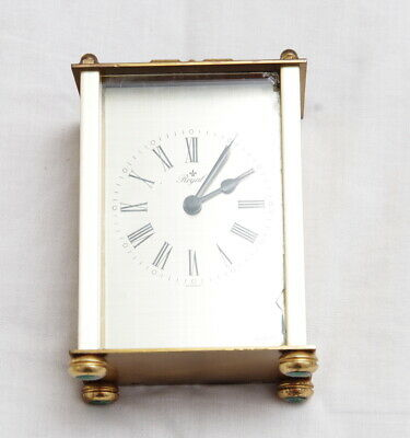Vintage Brass Carriage Mantle Clock - Brass-Germany-Uni body