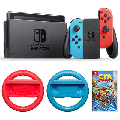 Nintendo Switch + Crash Team Racing Nitro Fueled + Switch Steering Wheel 2-Pack
