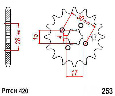 Hendler Front Sprocket 16 Teeth (247/253-16) Honda MSX 125 2013-2016