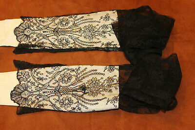 Antique Franch Silk Chantilly Lace Black Fingerless Gloves, Sleevers.