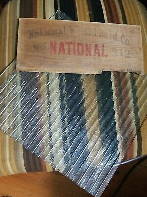 "VTG Ribbed GLASS & top sign National Atlantic No.512 Washboard 11.25""x12.25"""