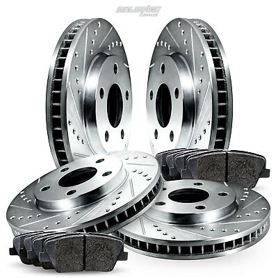 Fit 2006-2008 Toyota RAV4 Front Black Drill Slot Brake Rotors+Ceramic Brake Pads