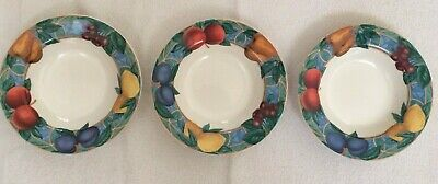 Victoria Beale Casual Forbidden Fruit #9024 3 Rimmed Soup Bowls