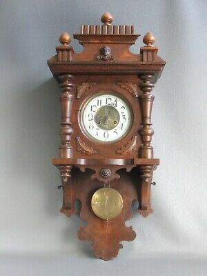 Antique Wall Clock Wooden Pendulum Mechanical Period Xx Century
