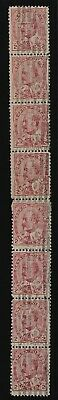 #90xxx EdwardVII experimental coil paste-up strip of 8 fine MNH with certificate