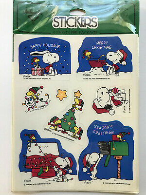 Snoopy And Woodstock Christmas.Vtg Hallmark Stickers Peanuts Snoopy Woodstock Christmas Sealed Nip Rare Htf
