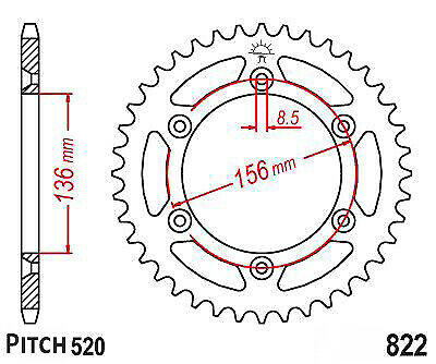 Hendler Rear Sprocket 48 Teeth (822-48) Suzuki PE 250 1977-1979
