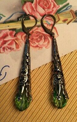 Beautiful Retro Art Deco revival AB Green Long Chandelier Lever Back Earrings