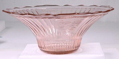 "Vintage Scalloped Edge Fluted Floral Pink Depression Glass 11.5""D Console Bowl"