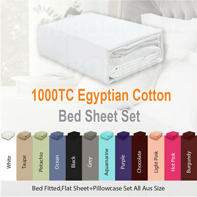 1000TC EGYPTIAN COTTON Sateen Bed Fitted,Flat Sheet Set Pillowcase All Aus Size