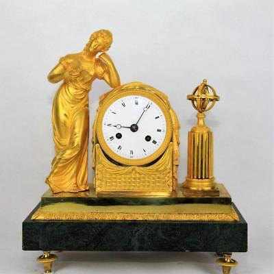 "Antique French mantel clock Empire gilt bronze marble figural ormolu ""La Liseuse"