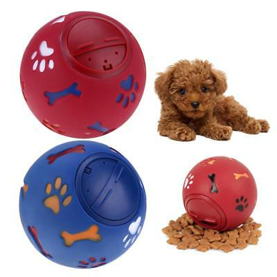 Pet Dog Treat Trainning Chew Sound Food Dispenser Toy Squeaky Giggle Rubber Ball
