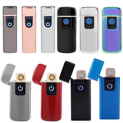 USB Electric Dual Arc Metal Flameless Torch Rechargeable Windproof Lighter HG