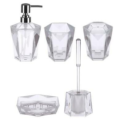 Dow Clear Acrylic (5 Pc) Bathroom Set, Modern Glam to the Bathroom Decor
