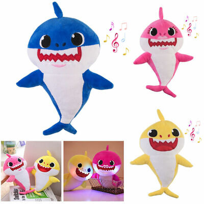 Shark Plush Singing LED Light Plush Toys Music Doll English Song Toy Gift