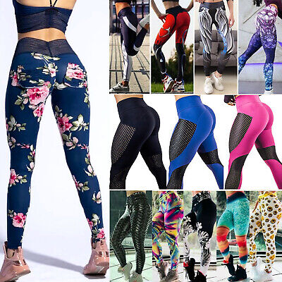 Womens High Waisted Gym Yoga Pants Sport Fitness Leggings Activewear Trousers AU