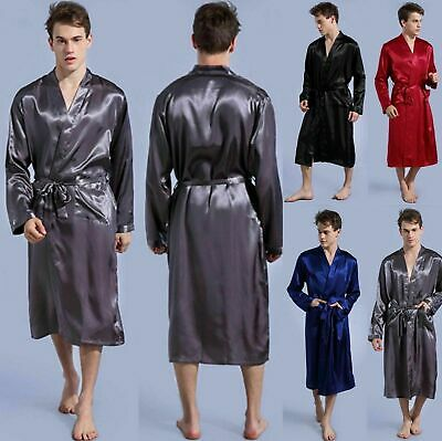 Men Silk Satin Kimono Pajamas  Bath Robe Dressing Loungewear Long Sleepwear Robe