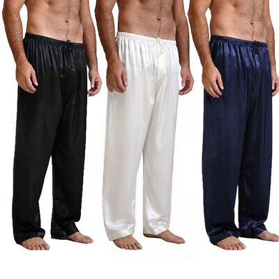 Mens Nightwear Sleepwear Bath Pajamas Satin Silk Long Lounge Pants Pyjamas US