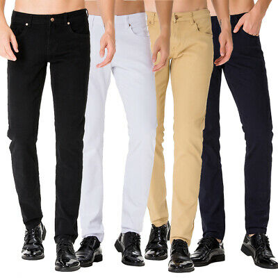 Men's Solid Jeans Slim Fit Stretch Casual Flat Front Chino Pants