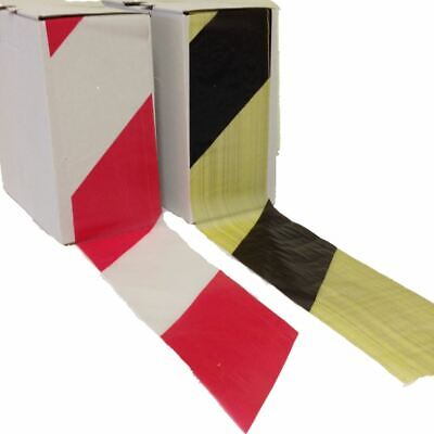 Hazard Warning Barrier Tape Non Adhesive Red/White Black/Yellow 72mm x 500m