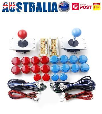 2 Joysticks + 20 LED Arcade Push Buttons +2 USB Encoder DIY Kit Game Parts AU