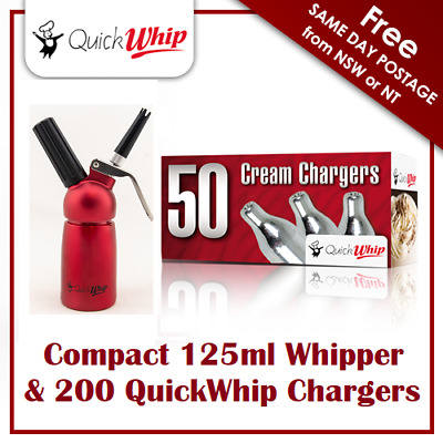 200 QuickWhip Chargers & compact 125ML Whipper - Dispenser - metal head - RED