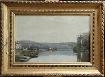 19th CENTURY FRENCH IMPRESSIONIST OIL BOARD - EXPANSIVE RIVER LANDSCAPE BOATS