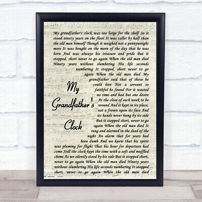 My Grandfather's Clock Vintage Script Song Lyric Music Gift Present Poster Print